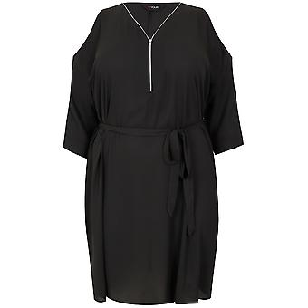 Black Cold Shoulder Shirt Dress With Zip Front Detail