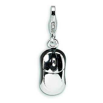 Sterling Silver 3-D Enameled Mouse With Lobster Clasp Charm - 2.2 Grams - Measures 26x8mm