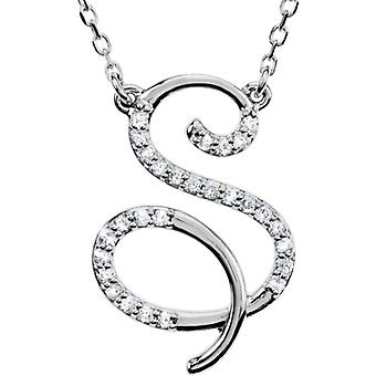 Sterling Silver Diamond Necklace S 1 / 6ct