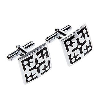 Marcell Sanders cufflinks Black Silver Oslo stainless steel
