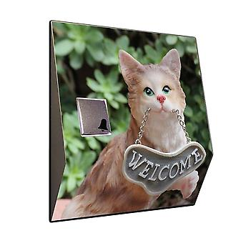 Doorbell with radio receiver - cat out of clay with welcome sign House Bell