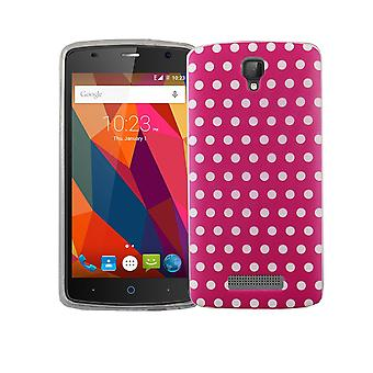 Cell phone case for ZTE blade L5 plus cover case protective bag motif slim silicone TPU polka dot pink