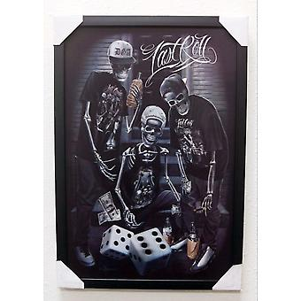 David Gonzales Art Last Roll 3D Framed Artwork Decoration Skeletons Dice Game