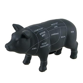 Black Ceramic Pig Shaped Coin Bank Butcher Chart Piggy Bank 6 in.
