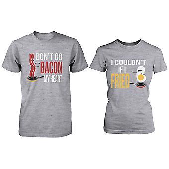 Söt matchande par skjortor - Bacon och ägg grå bomull grafiska T-shirts