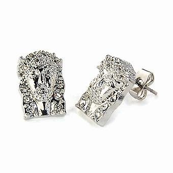 Iced Out Bling Ohrstecker Box - JESUS HEAD silber