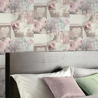Arthouse Charlotte Montage Blush Flowe Floral Writing Motif Wallpaper Cream