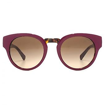Ralph By Ralph Lauren Two Tone Peaked Round Sunglasses In Berry Tort