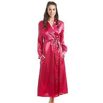 Camille Womens Fuscia Pink Luxury Satin Dressing Gown
