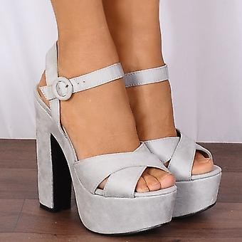 Shoe Closet Ladies FG6 Grey Ankle Straps Strappy Sandals Platforms Peep Toes High Heels