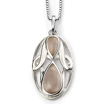 925 Silver Plated Rhodium Cat Eyes And Oval Necklace