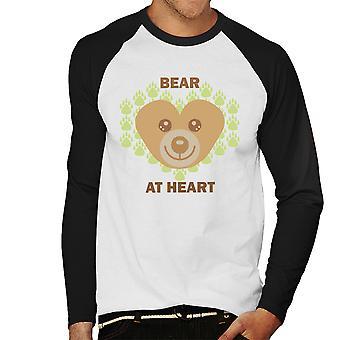 Bear At Heart Mens Baseball Long Sleeved T-Shirt