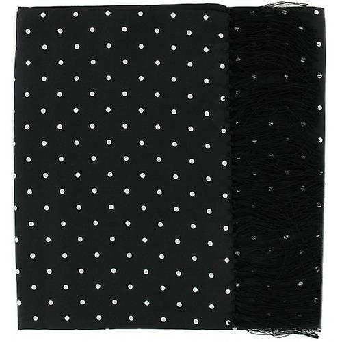Michelsons of London Wide Polka Dot Silk Scarf - Black