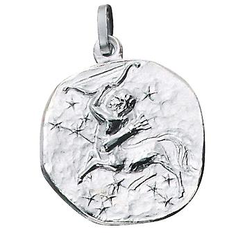 Pendant star sign of Sagittarius 925 sterling silver frosted zodiac sign pendant