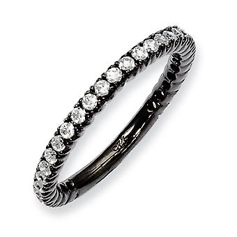 Sterling Silver Black Plated With Cubic Zirconia Ring - Ring Size: 5 to 8