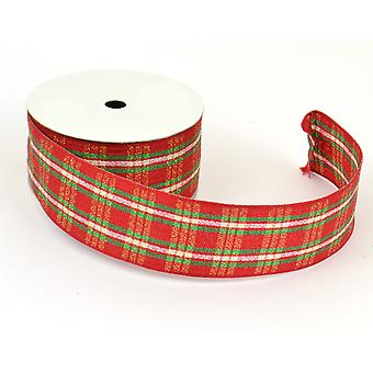 Red and Green Tartan Christmas Ribbon 38mm x 10m | Christmas Gift Wrap Supplies
