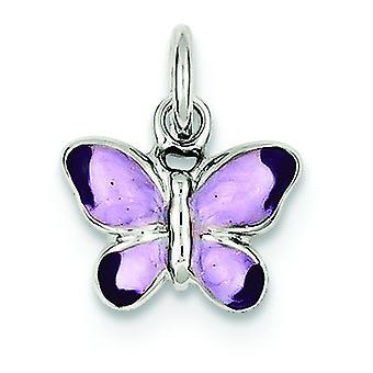 925 Sterling Silber solid Rhodium öffnen zurück Rhod emailliert lila Schmetterling Anhänger - 1,6 Gramm
