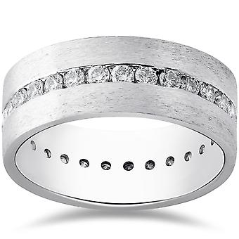 Mens 1 1/2ct Diamond Satin Eternity Comfort Wedding Band