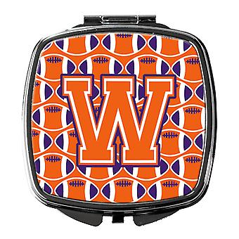 Letter W Football Orange, White and Regalia Compact Mirror