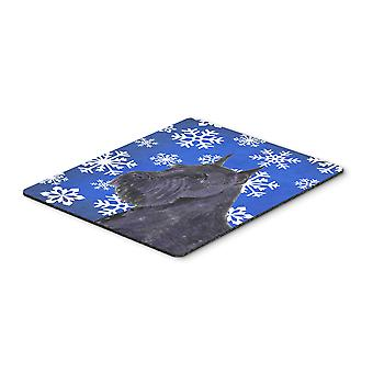 Schnauzer Winter Snowflakes Holiday Mouse Pad, Hot Pad or Trivet