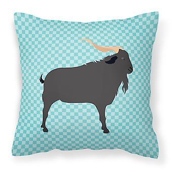 Azul de cabra verata Compruebe almohadilla decorativa de tela
