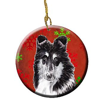 Black and White Collie Red Snowflakes Holiday Ceramic Ornament