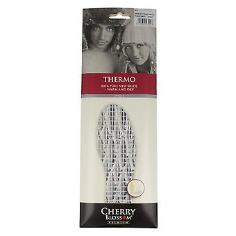 Mens Cherry Blossom Insoles Thermo - White Wool - UK Size M12 - EU Size 47 - US Size 13
