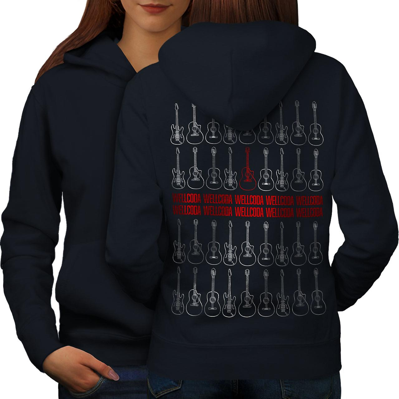 Musique rouge guitare femmes NavyHoodie dos