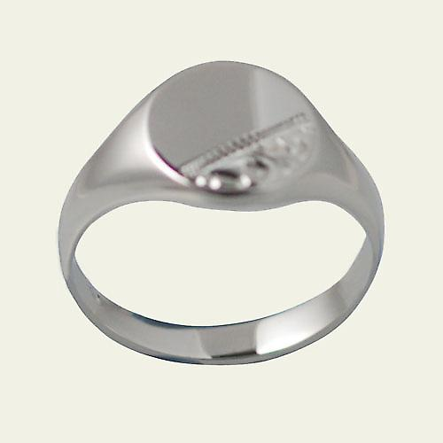 Silver 12x9mm solid hand engraved oval Signet Ring Size R