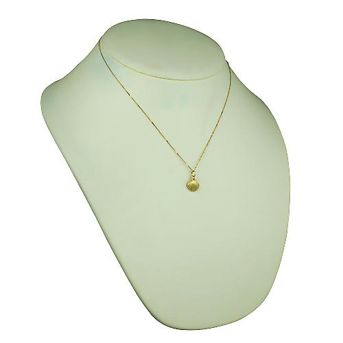 9ct Gold 9x11mm Sea shell Pendant with a curb Chain 18 inches
