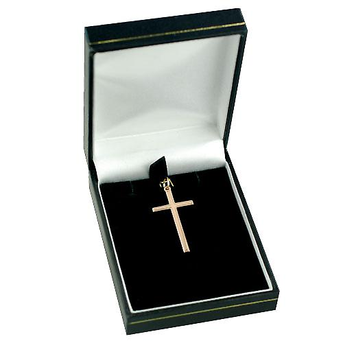 9ct Rose Gold 34x18mm plain block Cross