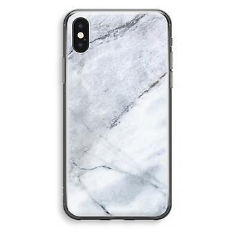 iPhone X gjennomsiktig sak (myk) - marmor hvit