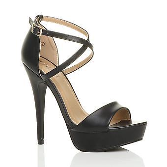 Ajvani mujeres plataforma tacón zapatos peep toe cruzar zapatos sandalias de tiras