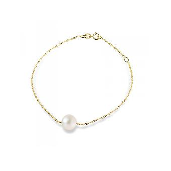 Bracelet woman chain Singapore in yellow gold 375/1000 and pearl culture of water sweet white