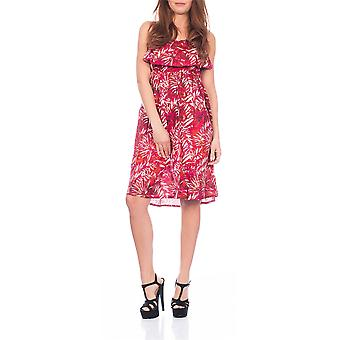 Pistachio, Ladies Pleated Floral Summer Dress With Adjustable Straps, Rouge, Medium (UK 12-14)