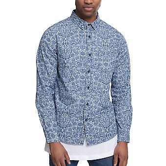 Urbains classics - imprimé chemise chemise à fleurs denim lavé