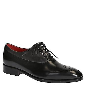 Handmade black leather halfbrogues oxfords shoes