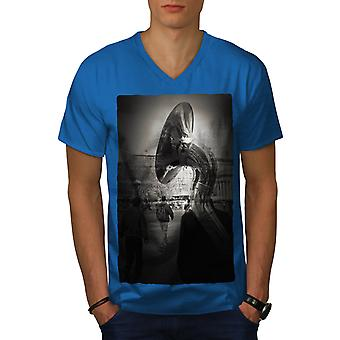 Box City Photo Art Music Men Royal BlueV-Neck T-shirt | Wellcoda