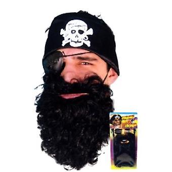 Piraat baard zwart Nylon Deluxe gekaard (aantal 1)
