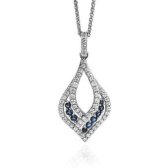 Orphelia Silver 925 Pendant With Chain Blue/White Zirconium   ZH-7042