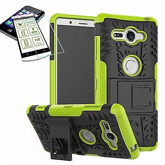 Hybrid case 2 stuk groen voor Sony Xperia XZ2 compact / mini tas geval + gehard glas