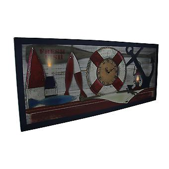 Nautical Mantel LED Lighted Canvas Print Wall Clock