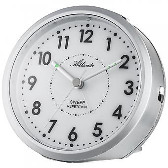 Atlanta 1767/19 alarm clock quartz analog silver quietly without ticking with light Snooze