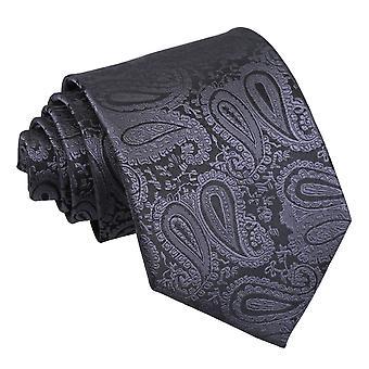 Cravate classique Paisley gris anthracite