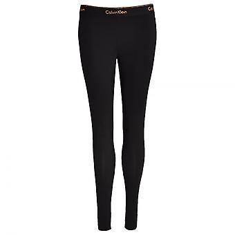 Calvin Klein Women Modern Cotton Legging, Black With Stencil Logo Rose Gold Glitter, Large