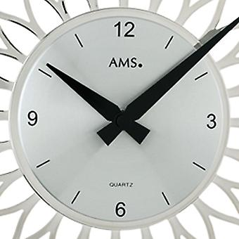 Quartz wall clock quartz design flower in plastic silver metal dial
