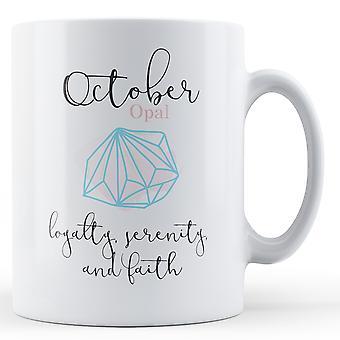 October Opal Birthstone - Printed Mug