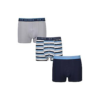 Ben Sherman Underwear Men's 3 Pack Boxer Trunk Shorts Blue Pink Willoughby