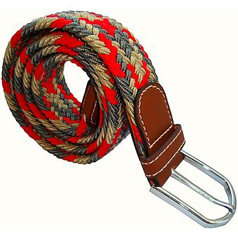 Bassin and Brown Jagged Stripe Elasticated Woven Buckle Belt - Red/Grey/Beige