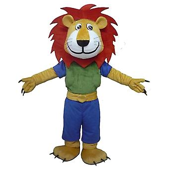 mascot lion yellow, white and red, with a colorful outfit SPOTSOUND